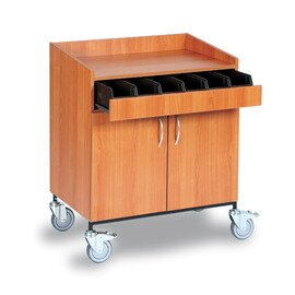 waiter station|service station cherry wood coloured 2 wing doors with 6 cutlery containers product photo