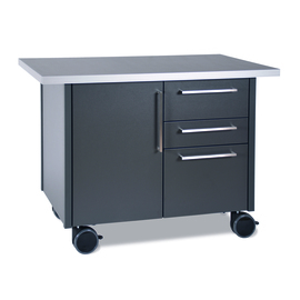 service trolley metal black 1250 mm  x 740 mm  H 900 mm with 3 drawers with 1 wing door product photo