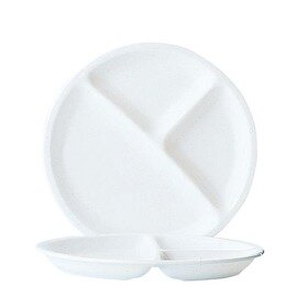 dining plate RESTAURANT UNI | tempered glass white  Ø 255 mm | 3 compartments product photo