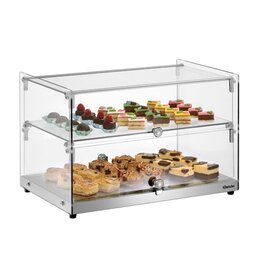 buffet showcase 5400 2E-K silver coloured | 2 shelves | straight product photo  L