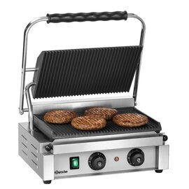 contact grill 1R  | 230 volts | enamelled cast iron  • grooved  • grooved product photo