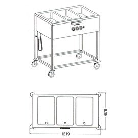 food serving trolley SPA/EB-3 LS heatable  • 3 basins product photo