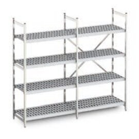 standing rack Norm 12 aluminium 2375|3379|3379 mm 600 mm  H 1800 mm 4 plastic grid shelf (shelves) product photo