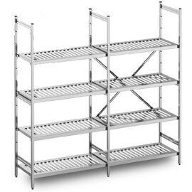 standing rack stainless steel 1575|1575|3049 mm 600 mm  H 1800 mm 4 metal sheet grid shelf (shelves) product photo