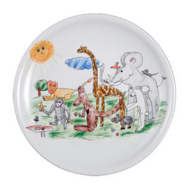 "dining plate porcelain multi-coloured | decor ""zoo""  Ø 254 mm product photo"