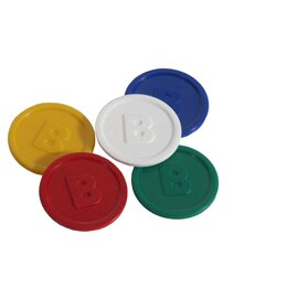 tokens plastic white round with coinage  Ø 25 mm | 100 pieces product photo