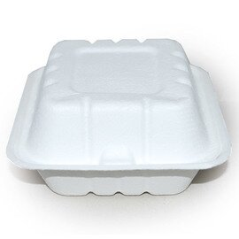 Bio-Lunchbox HAMBURGER sugarcane fibers white with lid 100% compostable  L 185 mm  B 135 mm  H 70 mm product photo
