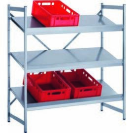 Euro container shelving stainless steel 900 mm 600 mm  H 1800 mm 4 closed shelf board(s) product photo