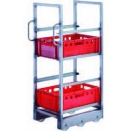 CNS transport cart for Euro boxes, L 470 x D 620 x H 1360 mm, 4 floors, with 2 slots, angle profile for the accommodation of the Euro boxes 30 x 40 x 1.5 mm with upstand front and rear, with Rolli chassis product photo