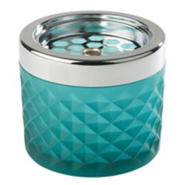 wind-proof ashtray glass metal frosted turquoise  Ø 95 mm  H 80 mm product photo
