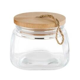 storage jar WOODY glass 1 ltr with lid  L 140 mm  B 140 mm  H 110 mm product photo