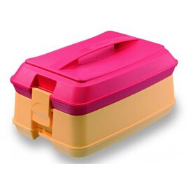 individual food carrier red yellow | 4 compartments  | 355 mm  x 241 mm  H 479 mm product photo