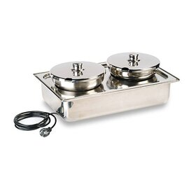chafing dish removable lid with 2 pots 230 volts 700 watts  L 545 mm  H 220 mm product photo