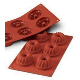 silicone baking mould GN 1/3  • gugelhupf | 6-cavity | mould size Ø 75 x H 40 mm  L 300 mm  B 175 mm product photo