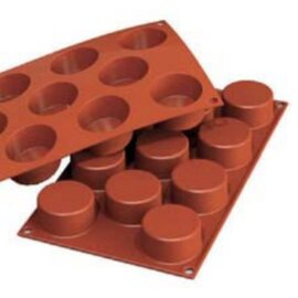 silicone baking mould GN 1/3  • cylinder | 11-cavity | mould size Ø 50 x H 27 mm  L 300 mm  B 175 mm product photo