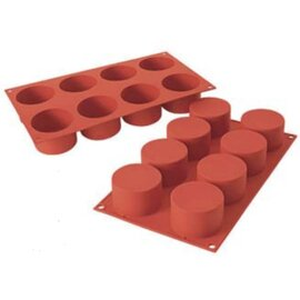 silicone baking mould GN 1/3  • Cylinder medium | 8-cavity | mould size Ø 63 mm x H 40 mm  L 300 mm  B 175 mm product photo