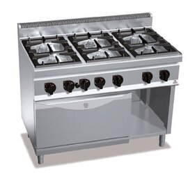 gas stove MACROS 700 G7F6+FG GN 2/1 | 6 cooking zones | oven | half-open base unit product photo