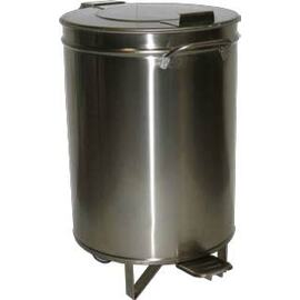 B-Stock | waste container AV 4667 50 ltr stainless steel fixed flat lid with pedal Ø 390 mm  H 600 mm product photo