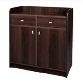 service cabinet wenge coloured 950 mm  x 490 mm  H 990 mm with 2 drawers with 2 wing doors product photo