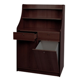 service cabinet wenge coloured 950 mm  x 490 mm  H 1440 mm with 2 drawers with 1 wing door|1 tilt door product photo