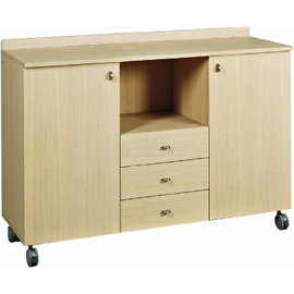 service cabinet oak coloured 1360 mm  x 480 mm  H 950 mm with 3 drawers 1 compartment with 2 wing doors product photo