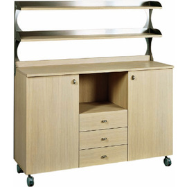 service cabinet oak coloured 1360 mm  x 480 mm  H 1550 mm with 3 drawers 1 compartment with 2 wing doors product photo