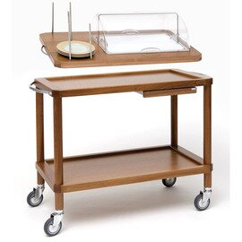 serving trolley Roma tanganica wood coloured with domed hood  | 3 shelves  | with countertop unit product photo