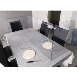 hygienic partition wall table for 2 | mobile product photo