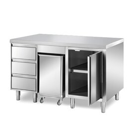 cabinet table 1500 mm  x 700 mm  H 850 mm with condiment container with 3 drawers with 1 wing door product photo