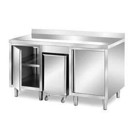 cabinet table 1500 mm  x 700 mm  H 850 mm with condiment container with 2 wing doors | upstand product photo