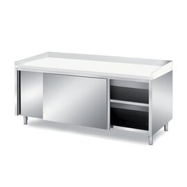 Bakery table 1600 mm  x 800 mm  H 850 mm with sliding doors | upstand plastic stainless steel product photo