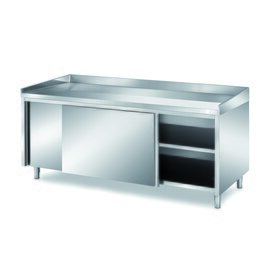 Bakery table 1600 mm  x 800 mm  H 850 mm with sliding doors | upstand stainless steel product photo