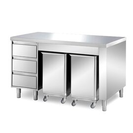 cabinet table 1500 mm  x 700 mm  H 850 mm with 2 ingredient containers with 3 drawers product photo